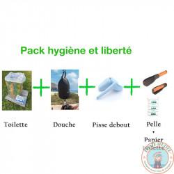 Pack hygiène et liberté, toilette sèche pliable, douche, pisse debout, pelle et papier toilette biodégradable
